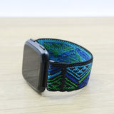 Tefeca Blue Triangle Line Pattern Stretch Elastic For Fitbit Versa - ETLB