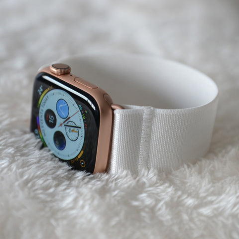 Tefeca White Satin Stretch Elastic Apple Watch Band 38mm/40mm  42mm/44mm - EWS