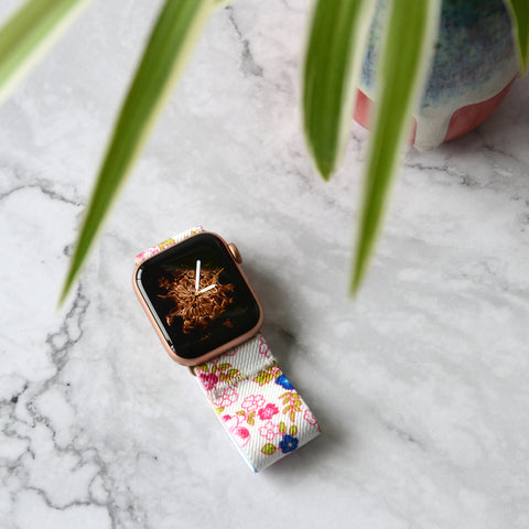 Tefeca Floral Pattern White Elastic Apple Watch Band 38mm/40mm  42mm/44mm - EFPA