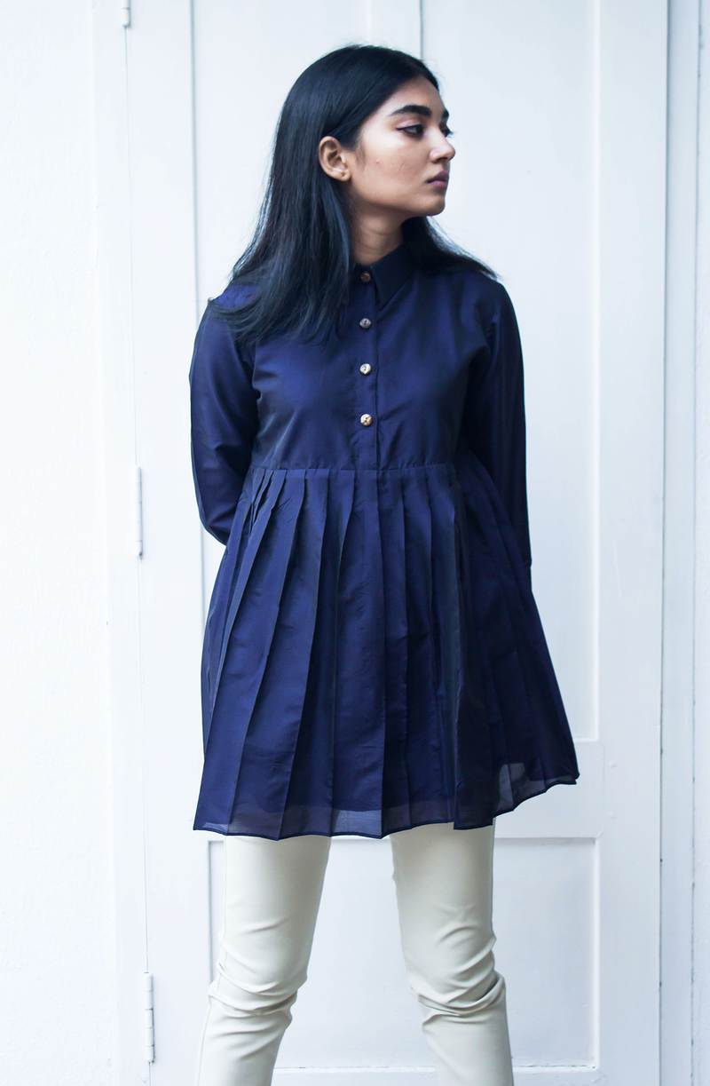 Navy Blue Silk Top