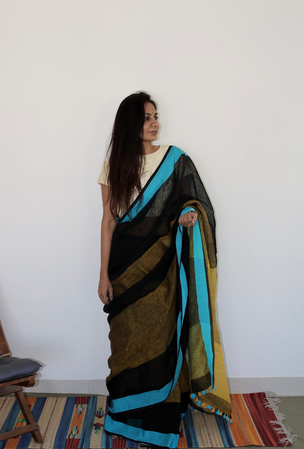 BLACK & BLUE BORDER LINEN SAREE