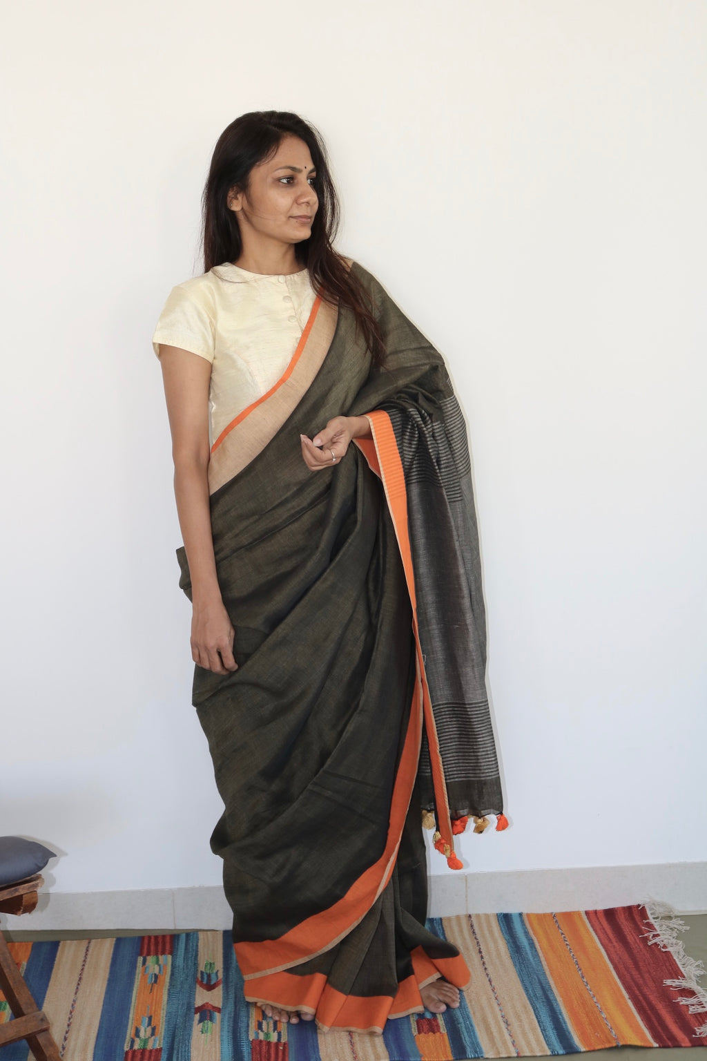 BROWN & GREY LINEN SAREE