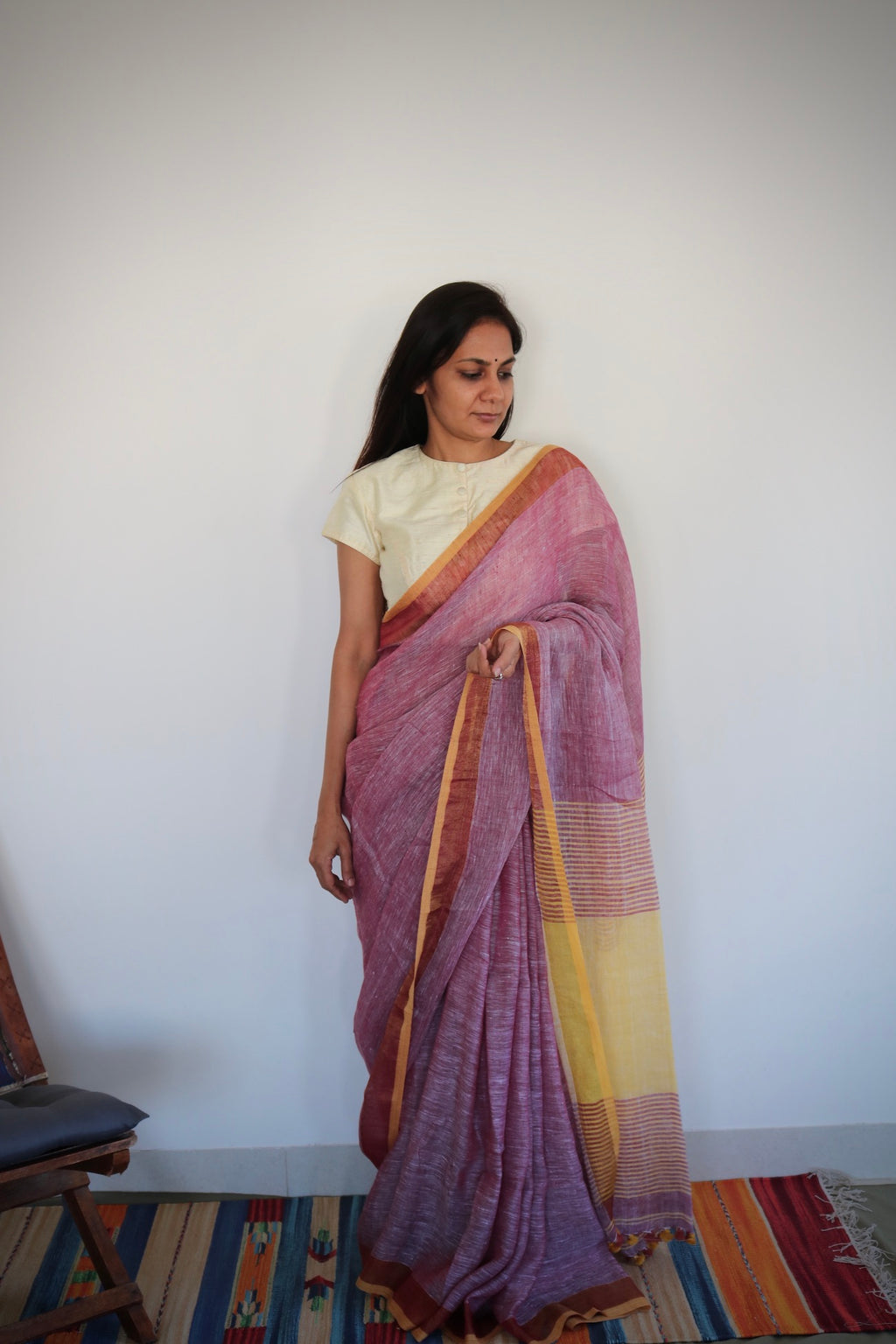BLUSH WITH YELLOW LINEN SAREE