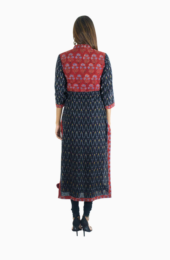 Black and Maroon Ikat Kurti