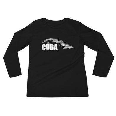 Cuban t-shirt / Map of Cuba t-shirt / Long Sleeve T-Shirt