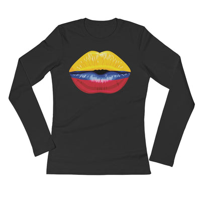 Juicy Kiss Colombia Flag Ladies Long Sleeve T-Shirt / Colombia Flag