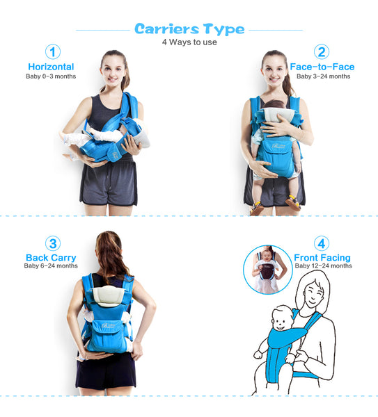 4 in 1 Comfortable Baby Hipseat Sling Backpack Carrier