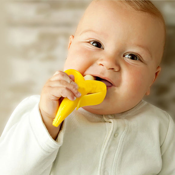 Baby Banana Infant Training Toothbrush and Teether BPA Free Chemical Free Environmentally Safe - BabyKid Mart
