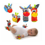 4 in 1 Baby Wrist Strap and Plush Socks with Sound (0-12 months)