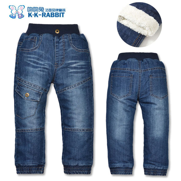 KK-RABBIT Winter Thick Fashion Kids Boys Girls Pants Trousers Jeans (3-7Y) - BabyKid Mart