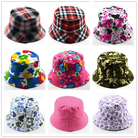 Kids Summer Hat Bucket Style For Girls & Boys Children Bucket Cap Panama Reversible - BabyKid Mart