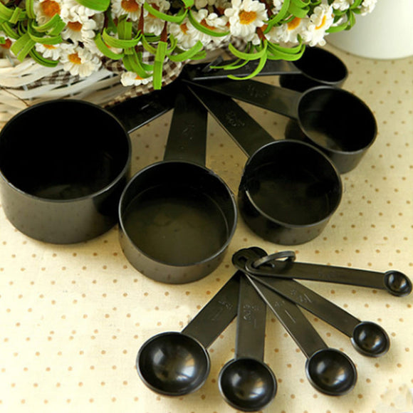 Black Plastic Measuring Cups 10pcs/set Measuring Spoon Kitchen Set Tools For Baking Coffee Tea - BabyKid Mart