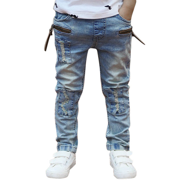 Street Fashion Light Color Kids Boys Jeans Trousers Cowboy Design Long Pants - BabyKid Mart