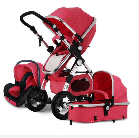 3 in 1 Multifunction Foldable Baby Stroller Baby Carriage and Car Seat with Safety Belt