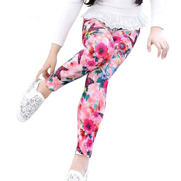 Kids Girls Leggings Children Pants Flower Printing (2-9Y) - BabyKid Mart