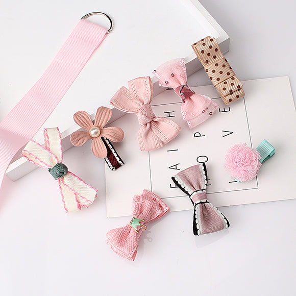 Multi-style Baby Kids Girls Ribbon Bow Flower Hairpins Cute Hair Clip 1 set=8pcs - BabyKid Mart