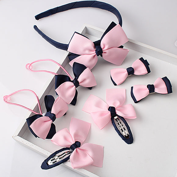 Lovely Bow Hairband Hairpins for Baby Girls Headwear Hair clip Headband 1set=7pcs - BabyKid Mart
