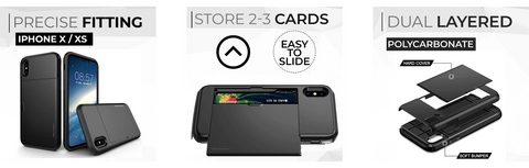 Neutron iPhone XR Shockproof Case with Card Holder - Protective Credit Card Wallet Slot