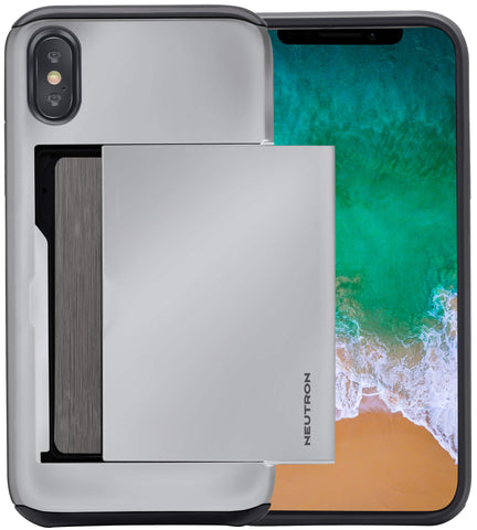 Neutron iPhone X/XS Shockproof Case with Card Holder - Protective Credit Card Wallet Slot