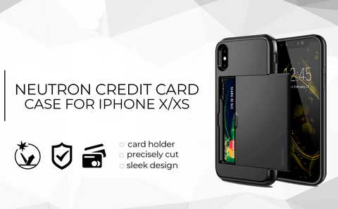 Image of Neutron iPhone XR Shockproof Case with Card Holder - Protective Credit Card Wallet Slot