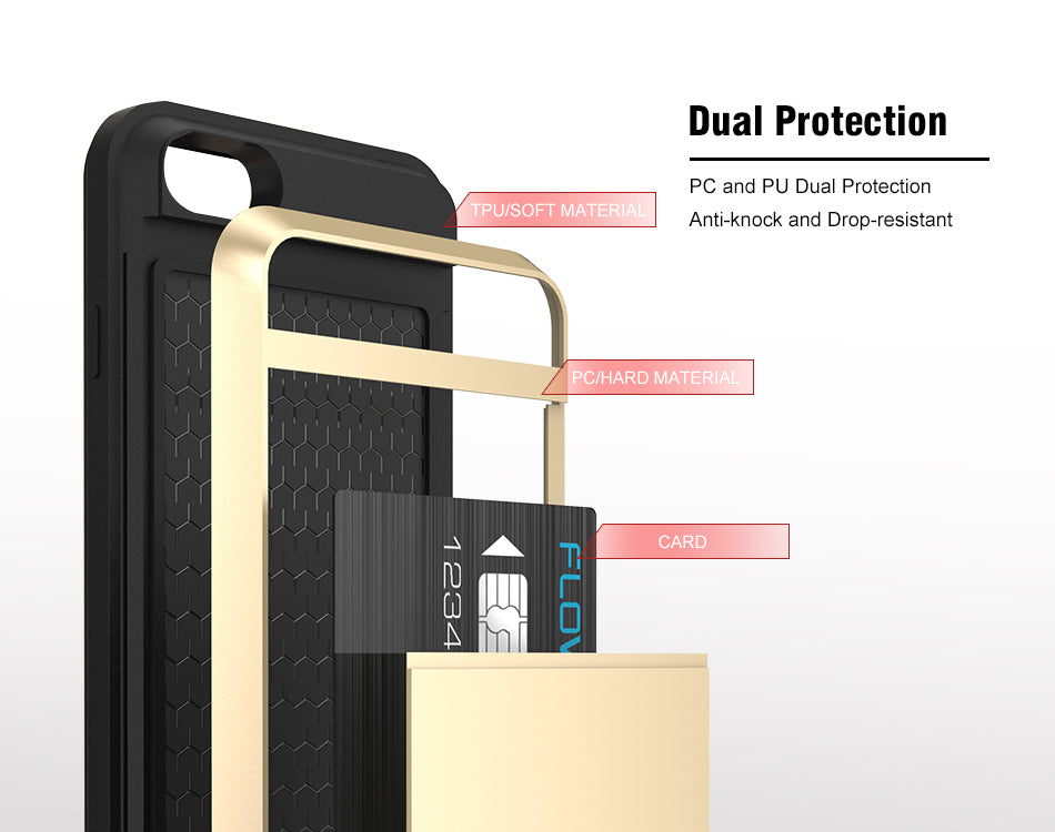 IPhone Shockproof Dual Case + Card Holder for iPhone 4,5,6,7,X