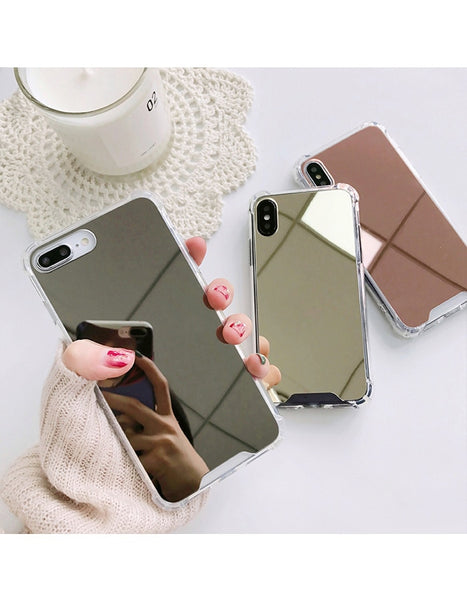 iphone case with mirror rose gold and silver