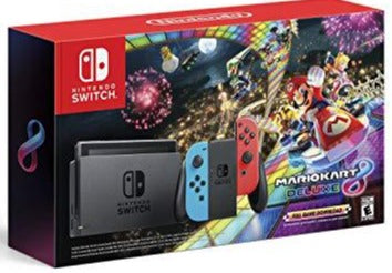 Nintendo Switch w/ Neon Blue & Neon Red Joy-Con + Mario Kart 8 Deluxe (Full Game Download) - Nintendo Switch
