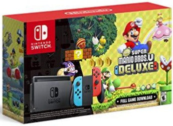 Nintendo Switch with Neon Blue and Neon Red Joy‑Con + New Super Mario Bros. U Deluxe (Full Game Download) - Nintendo Switch