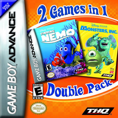 2 Games In 1 Double Pack: Finding Nemo / Monsters, Inc. - Game Boy Advance (TAB, 2004, US )