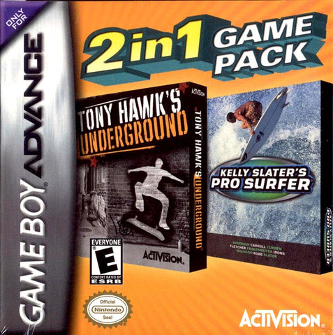 2 In 1 Game Pack: Tony Hawk's Underground / Kelly Slater's Pro Surfer - Game Boy Advance
