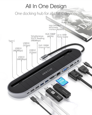 All-in-one design USB-C adapter