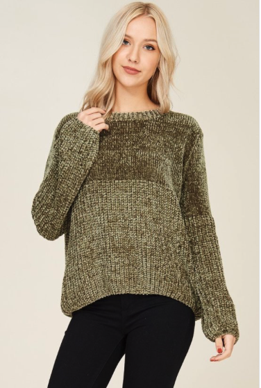 Chenille Olive Ribbed Sweater