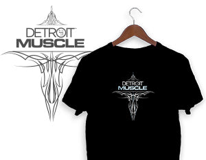 Detroit Muscle Pinstripe Design Logo T-Shirt - Black