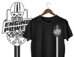Engine Power Striped Logo T-Shirt - Black