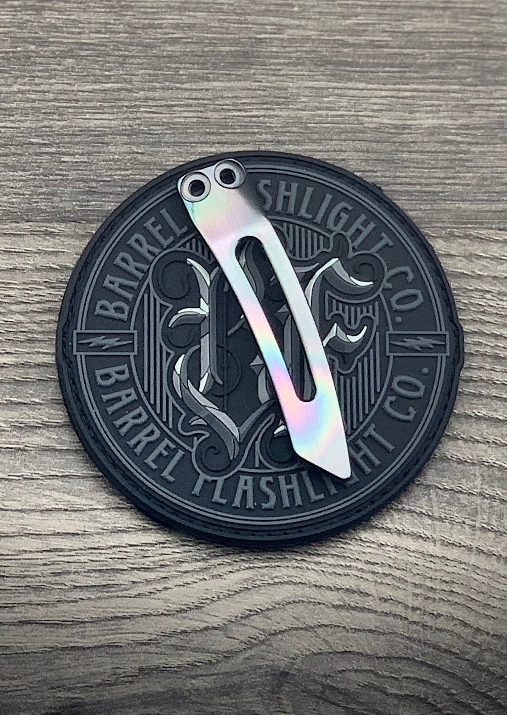 3D Milled Slotted Zirc Clip Oil Slick and Polished finish by Pete Gray