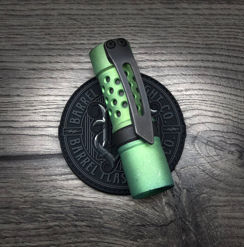 A Titanium Grumpy's EDC Battle Green Finish Barrel with Blackwashed 3D Milled Clip