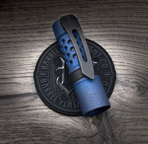 A Titanium Battle Blue Finish with Blackwashed 3D Milled Clip
