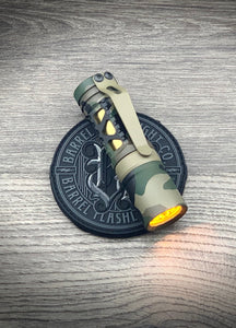 Barrel 6 Picatinney Aluminum Rail Woodland Camo Dragon Driver with Amber Secondary. TiN Sleeve, FDE Ring and Clip