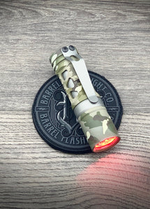 Barrel Aluminum Rail Multicam 6 Picatinny with Dragon driver with Red Secondaries. Grey ring, sleeve and clip.