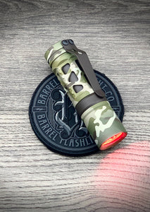 Barrel 6 Picatinney Aluminum Rail Multicam Dragon Driver with Red Secondary. Brown Cerakote Ring and Clip