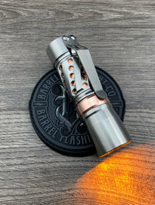 Machine Finish Titanium Barrel Helical Smooth, Copper Ring and Sleeve CWF Dragon Driver and Amber Secondaries
