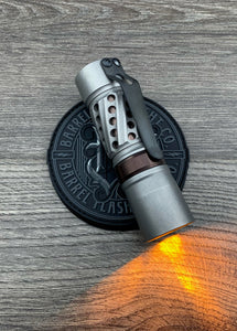 Stonewashed Barrel Helical Deep Groove, Oil Rubbed Bronze PVD Titanium Ring and Sleeve with DLC Ti Clip with CWF Dragon Driver and Amber Secondaries