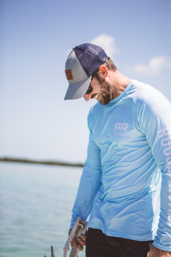 Rugged Road Long Sleeve Performance Shirt Aqua on Man at the Beach