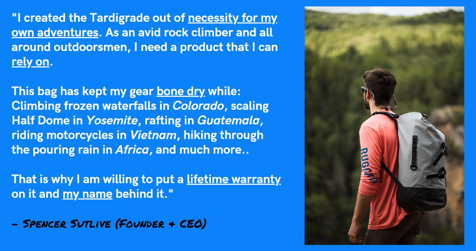 Rugged Road Outdoors Tardigrade Backpack CEO Spencer Sutlive Testimonial