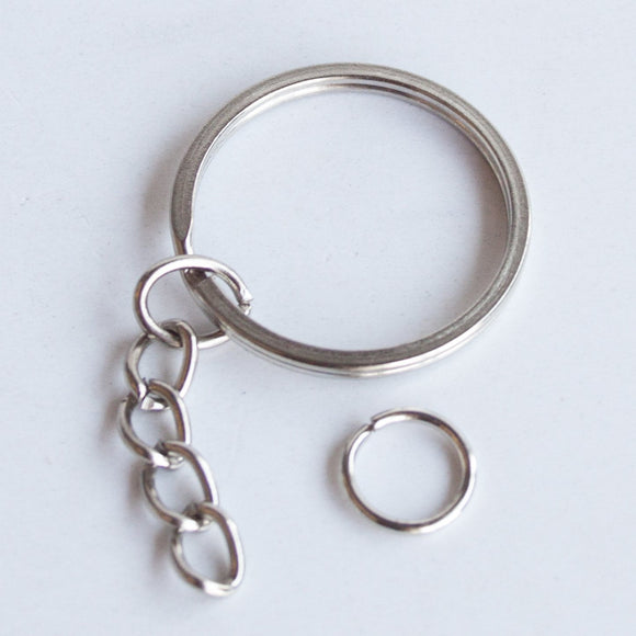 30mm Keyrings with Chain, pack of 50