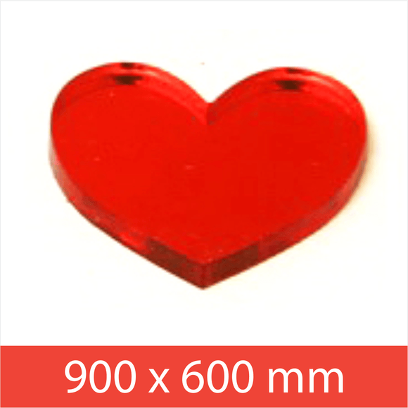 Mirror Vermillion Red 3mm 900x600mm