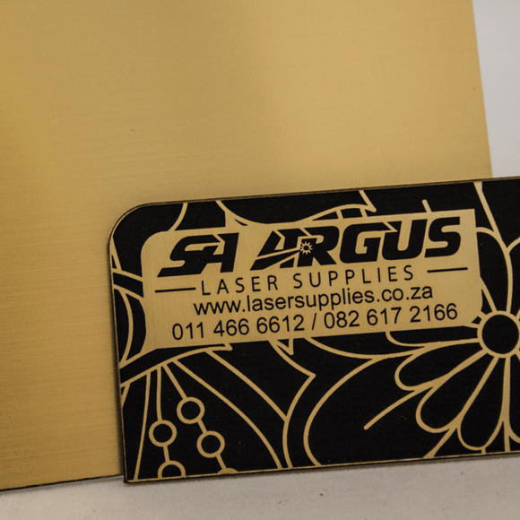 1.3mm Engraving panel, Brushed Gold on Black, 600x600mm