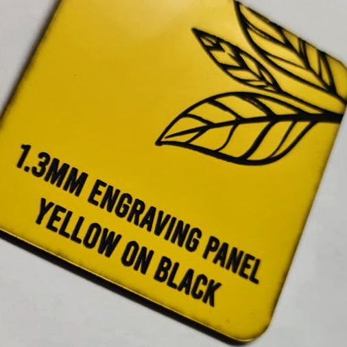 1.3mm Engraving panel, Yellow on Black, 600x600mm