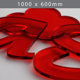 Perspex acrylic online sales, buy cut size 1000 x 600mm. TINT Red 5mm