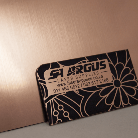 1.3mm Engraving panel, Rose Gold on Black, 600x600mm